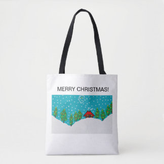 white tote bag with snowy festive scene