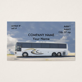 white tour bus business card
