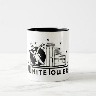 white tower hamburgers Two-Tone coffee mug