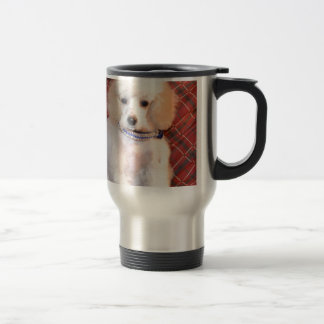 White Toy Poodle Fluffy Puppy Stainless Steel Travel Mug