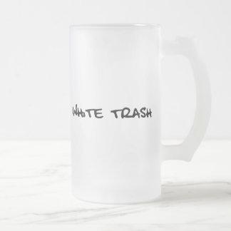 White Trash 16 Oz Frosted Glass Beer Mug