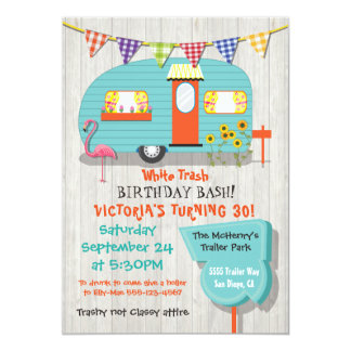 White Trash Birthday bash party invitation