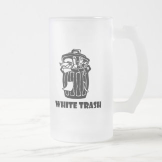 White Trash Garbage Can Frosted Glass Beer Mug
