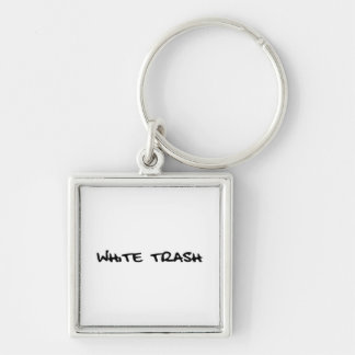 White Trash Silver-Colored Square Key Ring