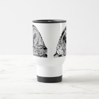 White Travel mug - Two Owl Images Stainless Steel Travel Mug