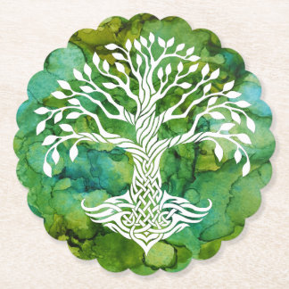 White Tree of Life Symbol  Alcohol Ink Background Paper Coaster