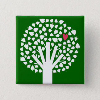 White Tree Silhouette with Heart Leaf 15 Cm Square Badge