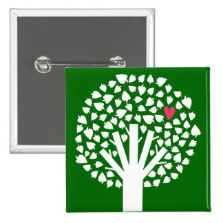White Tree Silhouette with Heart Leaf Pinback Button