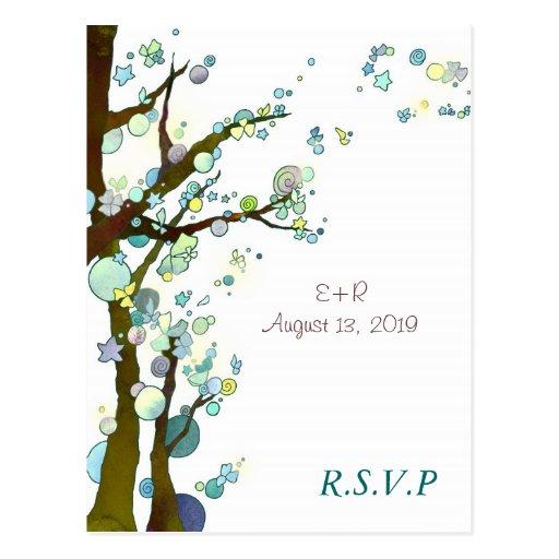 White Tree Theme Romantic Wedding RSVP (4.25x5.6) Postcards