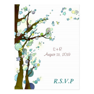 White Tree Theme Romantic Wedding RSVP Postcard