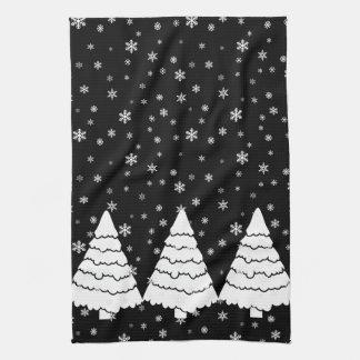 White Trees on Black Tea Towel