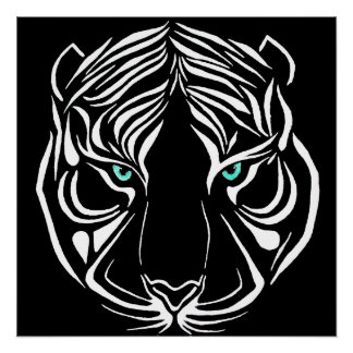 White Tribal Tiger on Dark Wall Art Poster