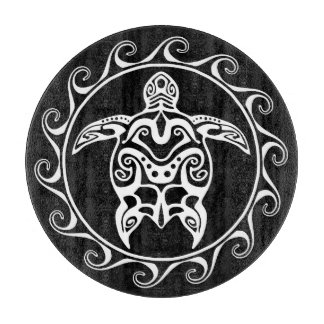 White Tribal Turtle Cutting Board