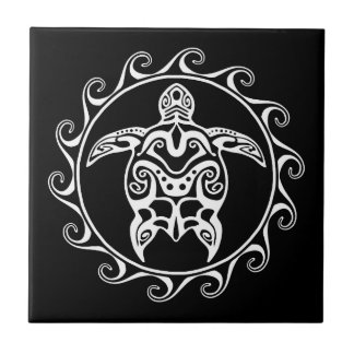 White Tribal Turtle Small Square Tile