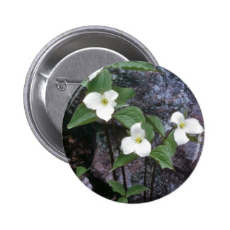 white Trillium flowers 6 Cm Round Badge