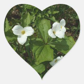 White Trillium Heart Sticker