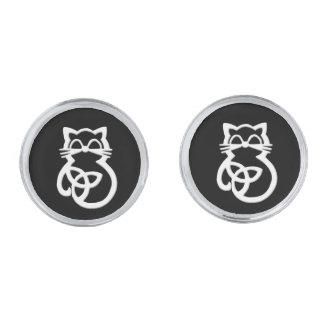White Trinity Knot Celtic Cat Cufflinks Silver Finish Cufflinks
