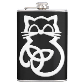 White Trinity Knot Celtic Cat Flask