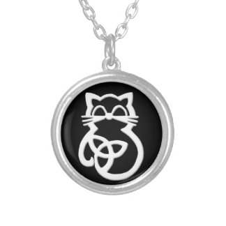 White Trinity Knot Celtic Cat Necklace