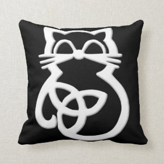 White Trinity Knot Celtic Cat Throw Pillow