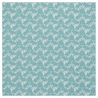 White Triple Spiral Abstract Design Fabric