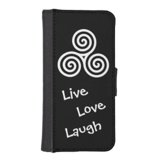 white triple spiral live love laugh phone wallet cases