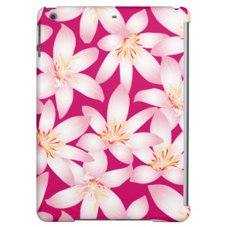 White tropical floral on pink