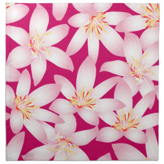 White tropical floral on pink napkin