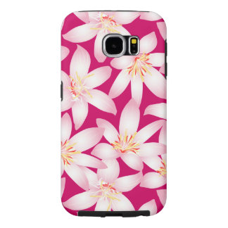 White tropical floral on pink samsung galaxy s6 cases