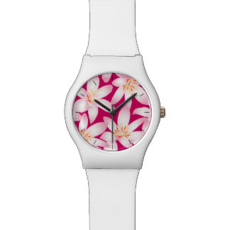 White tropical floral on pink watch