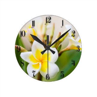 White tropical flower round clock