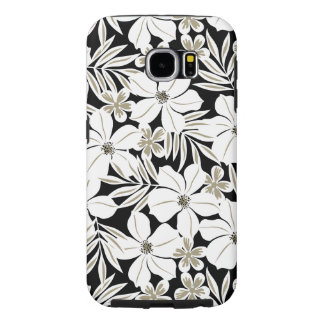 White tropical flowers on black samsung galaxy s6 cases