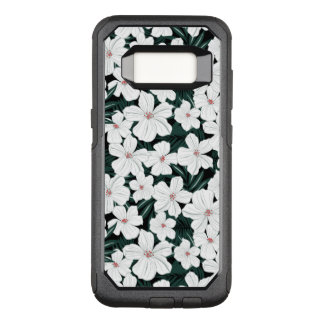 White Tropical Flowers Pattern OtterBox Commuter Samsung Galaxy S8 Case