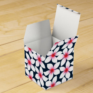 White tropical hibiscus flowers favour box