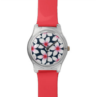 White tropical hibiscus flowers watch
