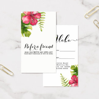 White Tropical Hibiscus Leaves Chic Refer a Friend Business Card