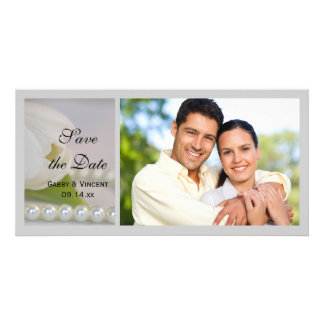White Tulip and Pearl Spring Wedding Save the Date Customized Photo Card
