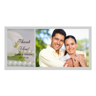 White Tulip and Pearls Spring Wedding Thank You Personalized Photo Card