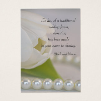 White Tulip and Pearls Wedding Charity Favor Card