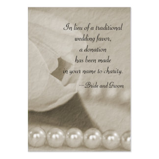 White Tulip and Pearls Wedding Charity Favor Card Pack Of Chubby Business Cards