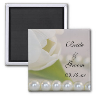 White Tulip and Pearls Wedding Magnet