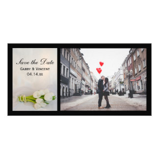 White Tulip Bouquet Spring Wedding Save the Date Card