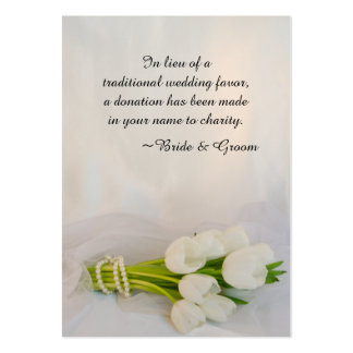 White Tulip Bouquet Wedding Charity Favor Card Pack Of Chubby Business Cards