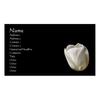 White Tulip Flower On Black Business Card