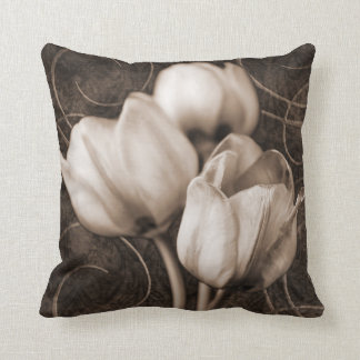 White Tulip Flowers Sepia Black Background floral Throw Pillow