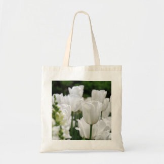 white tulip garden tote bag