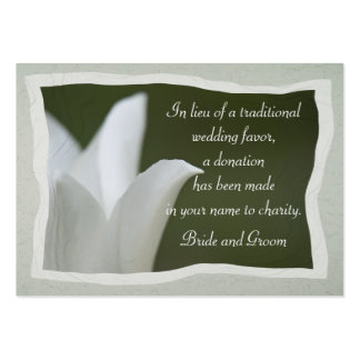 White Tulip Wedding Charity Favor Card Pack Of Chubby Business Cards