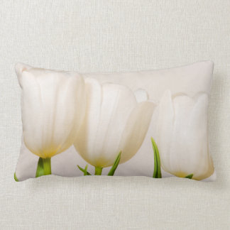 White tulips against a white background, lumbar cushion