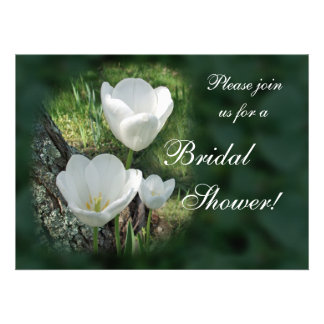 White Tulips Bridal Shower Personalized Announcement