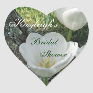 White Tulips Bridal Shower Heart Stickers